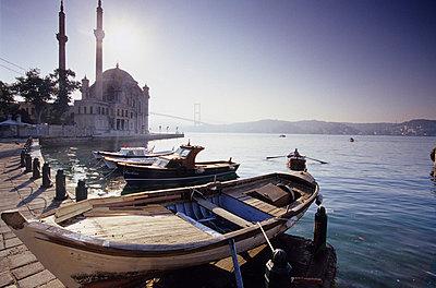 Ortaköy Camii at Bosporus;Turkey; Fisherboats at the bay - p3001410f by Mel Stuart