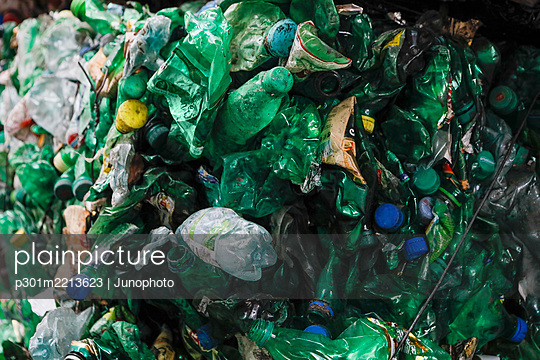 Recycled green plastic bottles - p301m2213623 by Junophoto