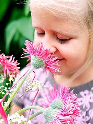 Scandinavian girl with pink flowers Sweden - p312m1077261f by Peter Carlsson
