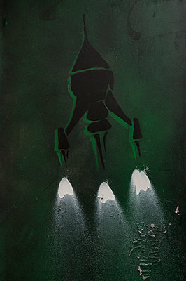 Graffiti of a rocket - p470m2082310 by Ingrid Michel