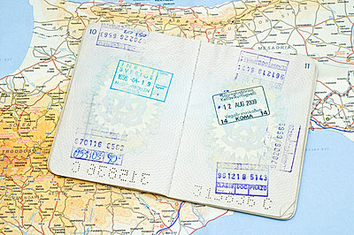 Passport on map - p5640198 by Dona