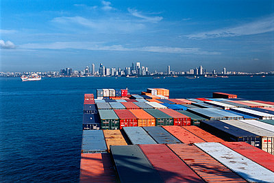 Container ship at Singapore - p1099m882831 by Sabine Vielmo
