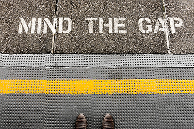 Mind the gap sign  - p1280m1574458 by Dave Wall