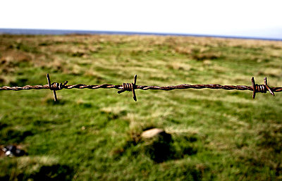 Rusty barbed wire in front of peaceful countryside - p348m733767 by Johanna Svensson