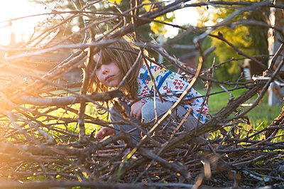 Young boy playing in trees  - p920m1573732 by Jude Mooney