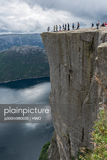 Norway, Tourist at Pulpit Rock - p300m980035 by HWO