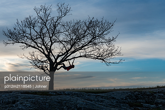 Silhouette person climbing tree - p312m2118545 by Johner
