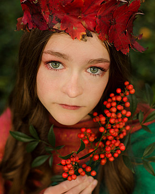 Girl in Leaf Crown with Autumn Elements - p1617m2192197 by Barb McKinney