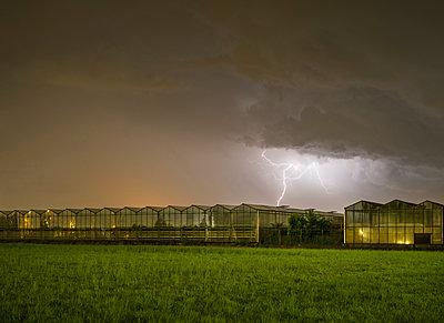 Thunderstorm over greenhouse, Rith, Noord-Brabant, Netherlands - p429m1494193 by Mischa Keijser