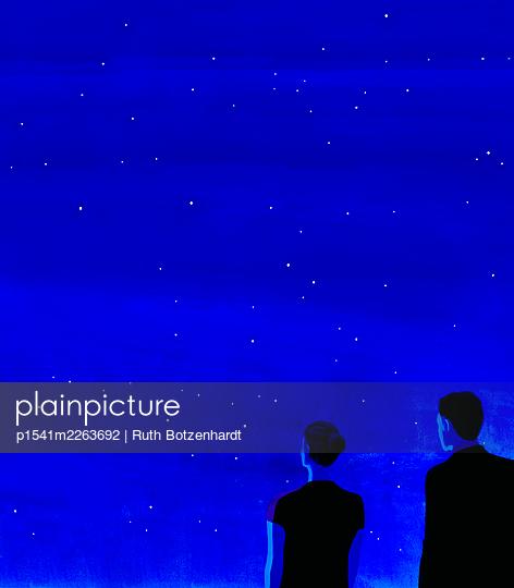 Illustration, Paar unter Nachthimmel - p1541m2263692 von Ruth Botzenhardt