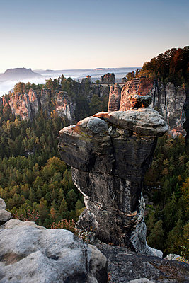 The Bastei in the morning, Elbe Sandstone Mountains, Saxon Switzerland, Germany - p30120361f by Lothar Schulz
