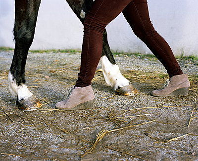 Horse legs and woman legs - p453m2165668 by Mylène Blanc