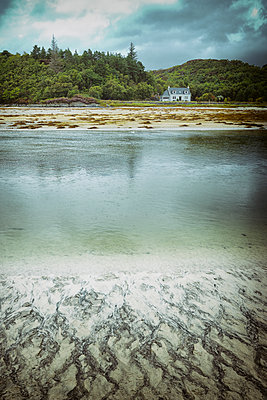 Small cottage beach water sand picturesque low tide - p609m2066465 by WALSH photography