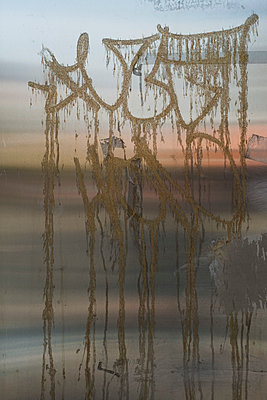 Close-up of graffiti on metal during sunset - p301m1406538 by Michael Mann