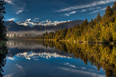 Lake Matheson reflection - p884m863216 by Colin Monteath/ Hedgehog House