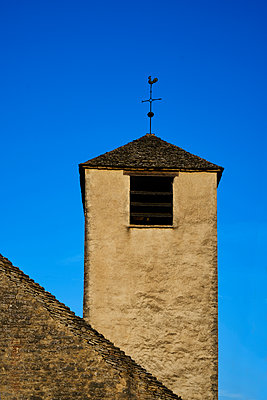 Church tower with weathercock under blue sky - p1312m2288723 by Axel Killian