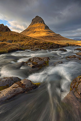 The mountain kirkjufell and waterfall kirkjufellsfoss on the snaefellsnes peninsula; grundarfjorour iceland - p442m839564 by Robert Postma