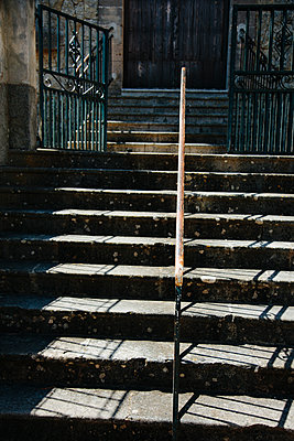 Old stone staircase at a church - p1621m2291760 by Anke Doerschlen