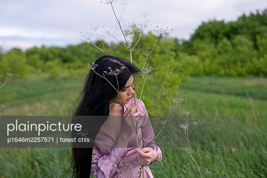 Woman in purple dress on a meadow - p1646m2257571 by Slava Chistyakov