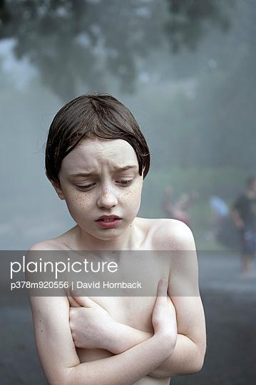Cold wet shirtless boy - p378m920556 by David Hornback