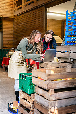 Two women using laptop between crates on a farm - p300m1562422 by Peter Scholl