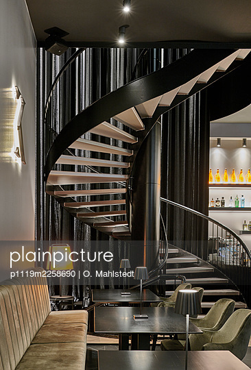 Spiral Stair in a restaurant - p1119m2258690 by O. Mahlstedt