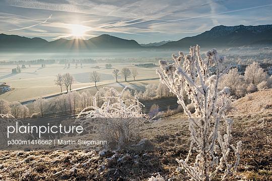 Germany, Bavaria, Grossweil, sunrise in winter - p300m1416662 by Martin Siepmann