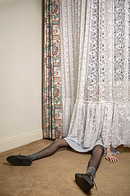 Girl behind curtains - p1010m2284212 by timokerber