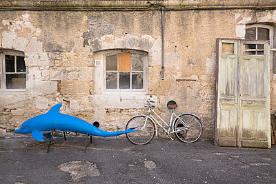 Old objects in front of an abandoned house - p1682m2264045 by Régine Heintz
