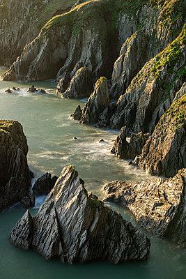 Rugged cliffs on the south coast of Devon, England, United Kingdom, Europe - p871m2209440 by Adam Burton