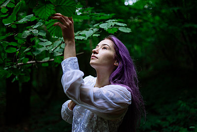 woman reaches for tree branches - p1166m2136596 by Cavan Images