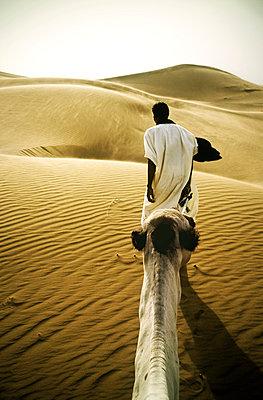 Man leading a Camel Through Desert - p1072m857526 by Neville Mountford-Hoare