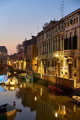 Boats on the canal at dusk - p1312m2082230 by Axel Killian