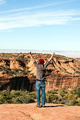 Rear view of excited man standing with arms raised on rock at Canyon de Chelly against sky - p1094m1209093 by Patrick Strattner