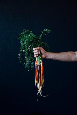 Fresh Carrots Against Dark Background - p1262m1119983 by Maryanne Gobble