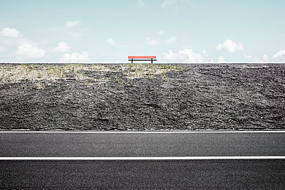 Red bench - p1162m2278611 by Ralf Wilken