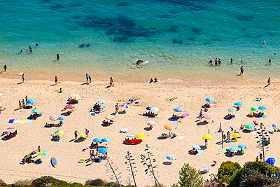 Aerial view from a Tropical beach with colorful umbrellas. - p1166m2207805 by Cavan Images