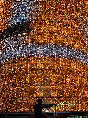 Illuminated sacral building, Doha, Qatar - p1542m2142362 by Roger Grasas