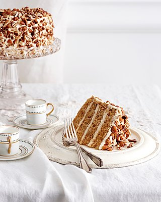 Tiramisu torte on traditional tea table - p429m1126111f by BRETT STEVENS