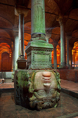 The byzantine Basilica Cistern, carved Medusa head, Istanbul, Turkey - p429m665507f by Henglein and Steets