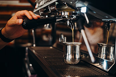 Barista and coffee machine - p1363m2229777 by Valery Skurydin