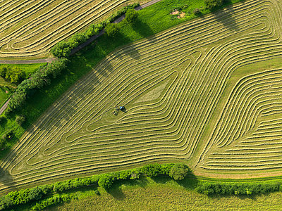 Aerial view tractor in patterned green agricultural crop, Hohenheim, Baden-Wuerttemberg, Germany - p301m2017578 by Stephan Zirwes