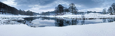 Winter view of River Brathay at dawn, under snow with reflections, near Elterwater Village - p8710502 by Lee Frost