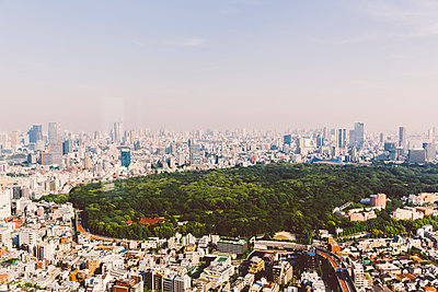 Blick auf den Yoyogi Park in Tokio - p432m2116411 von mia takahara