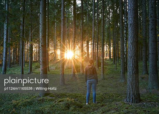 Frau im Wald bei Sonnenuntergang - p1124m1165538 von Willing-Holtz