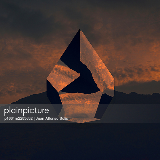 Geometric body against mountain range, collage - p1681m2283632 by Juan Alfonso Solis