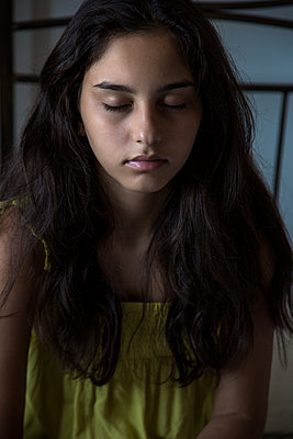 portrait of girl with closed eyes - p1623m2295001 by Donatella Loi