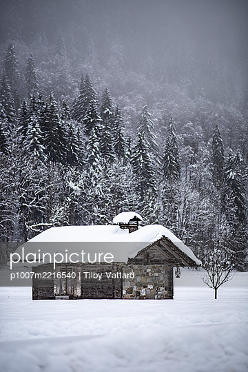 France, Hut in the woods with snow-covered roof - p1007m2216540 by Tilby Vattard