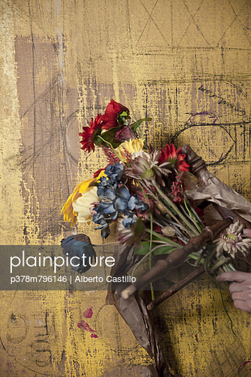 Flowers against weathered background - p378m796146 by Alberto Castillo