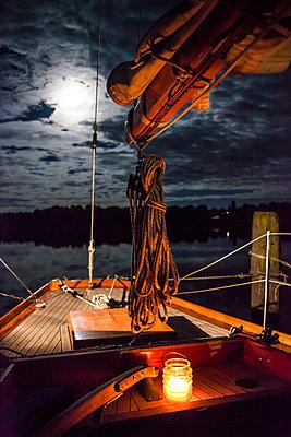 Ship deck in moonlight - p1621m2257974 by Anke Doerschlen